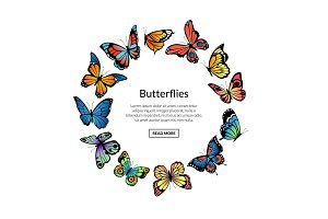 Vector decorative butterflies in