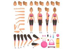 Sport girl animation. Fitness female