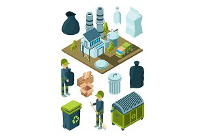 Waste recycle isometric. Refuse