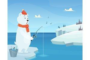 White bear background. Iceberg ice