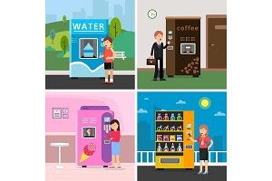 Vending machines food. People buying