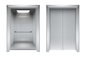 Elevator doors. Closing and opening