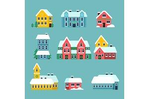 Winter houses. Urban xmas holidays