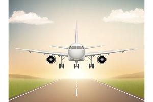 Jet aeroplane on runway. Aircraft