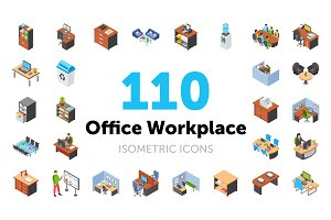 110 Office Workplace Isometric Icons