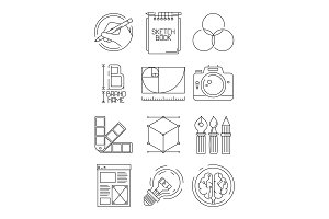 Creative process icons. Sketch