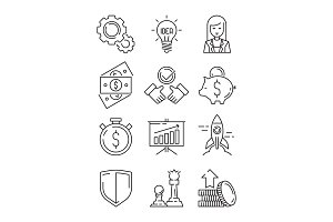 Finance line icons. Business symbols