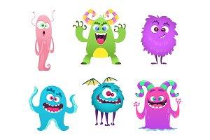 Monsters mascot. Furry cute gremlin