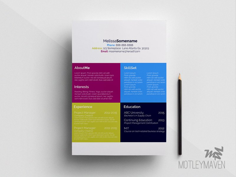 color block creative resume resume templates creative market