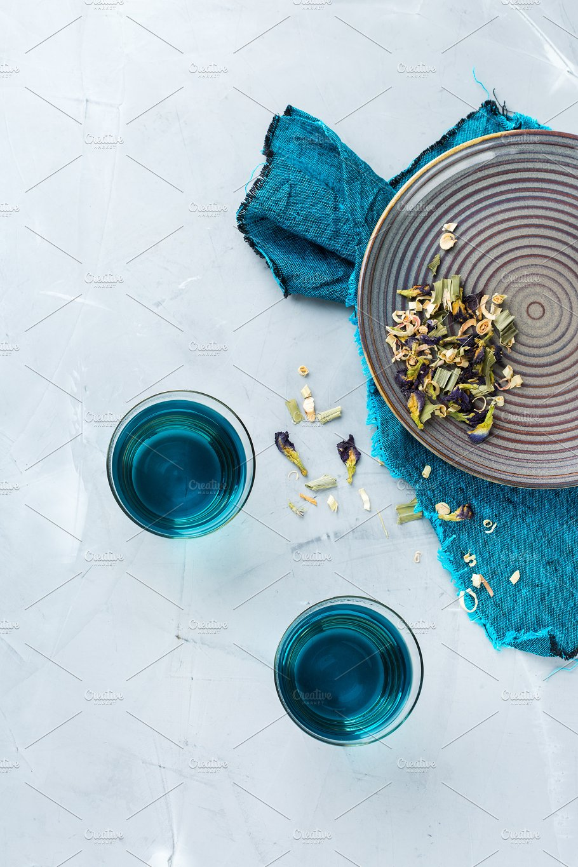 Blue Erfly Pea Flowers Tea In A Food Drink