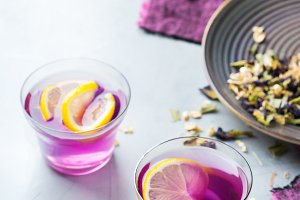 Purple butterfly pea flowers tea in