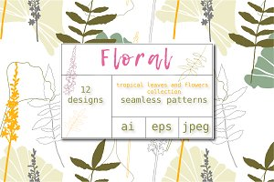 12 Floral tropical patterns