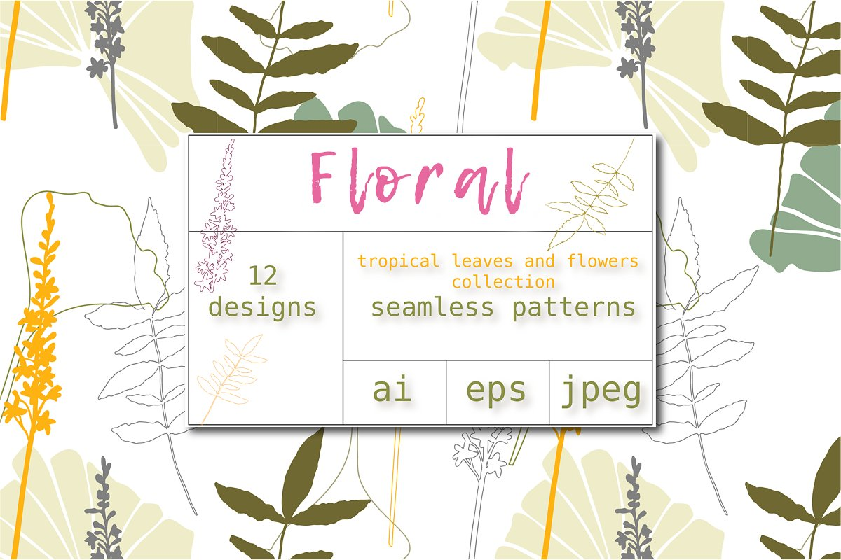12 Floral tropical patterns in Patterns - product preview 5