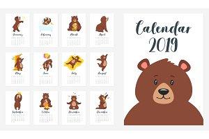 brown bear grizzly calendar