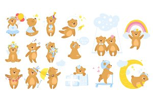Teddy bear cartoon set.