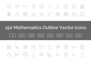 150 Mathematics Outline Vector Icons