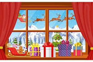 Christmas window view with a snowy