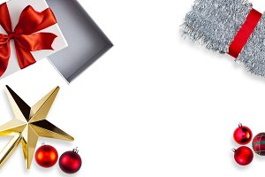 Christmas Gold Star Silver Tinsel De