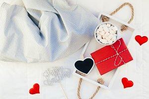 Romantic breakfast in bed. Birthday