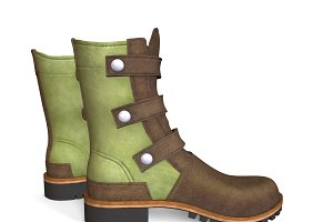 Leather boots 3d Shoes