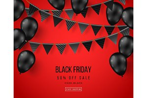 Black Friday balloons and garlands
