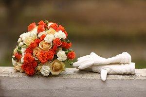 wedding bouquet of orange and white