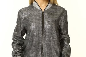 blond business woman in bomber forma