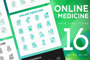 Online Medicine   16 Thin Line Icons
