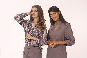 two model fashion smiling women in f