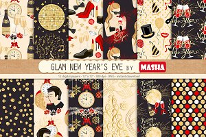 GLAM NEW YEAR'S EVE digital papers