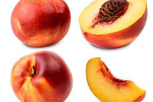 Set of ripe nectarine whole, half
