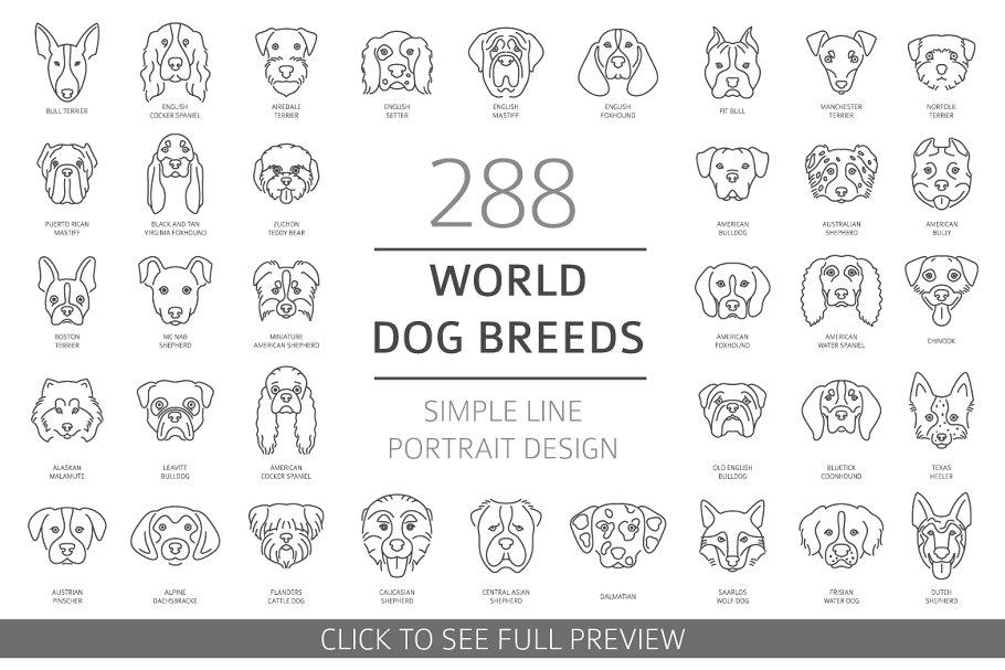 Dog portraits simple line set