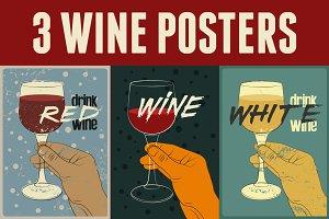 Wine vintage style grunge posters.