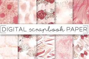 Pink Girly Painterly Paper Set
