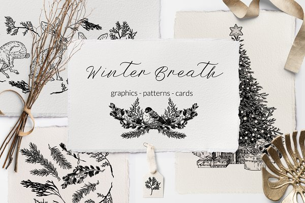Illustrations and Illustration Products - WINTER BREATH. Graphic Collection