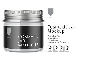 Cosmetic Glass Jar Mockup 3
