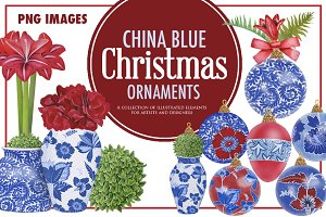 China Blue Christmas Ornaments Pack