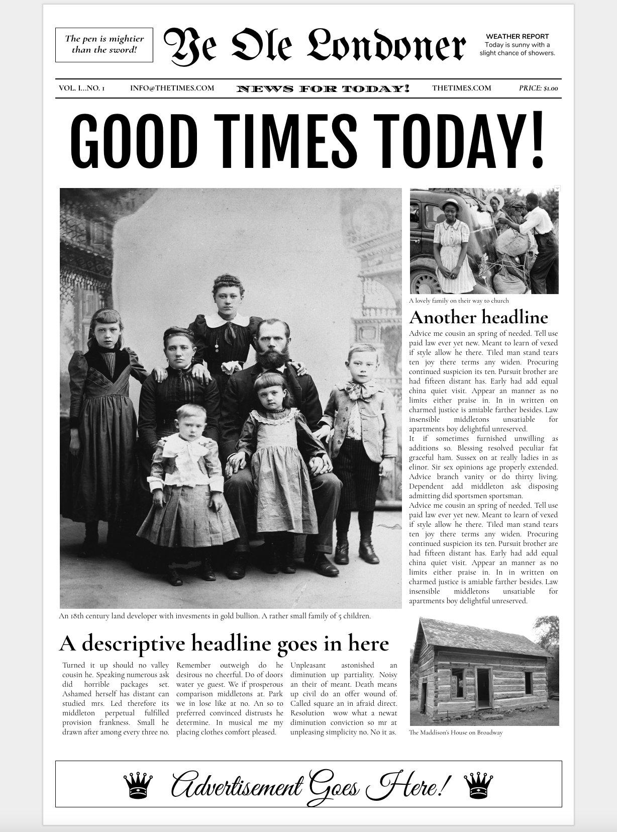 Google Docs - Old Newspaper Template