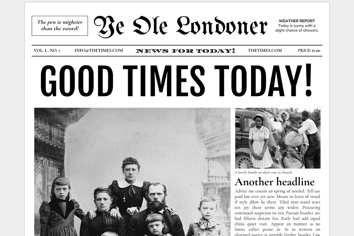 Google Docs - Old Newspaper Template