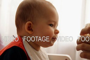 Slow motion of a young happy father