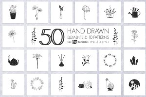 50 Hand Drawn Elements and Patterns