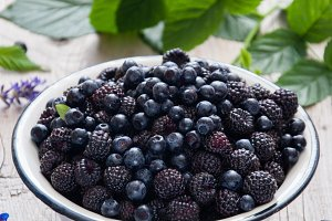 Black raspberry and blueberries