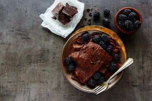 Chocolate crepes with blackberries