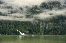 Alaskan landscape with waterfall by  in Nature