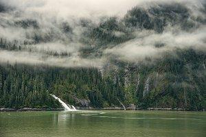 Alaskan landscape with waterfall