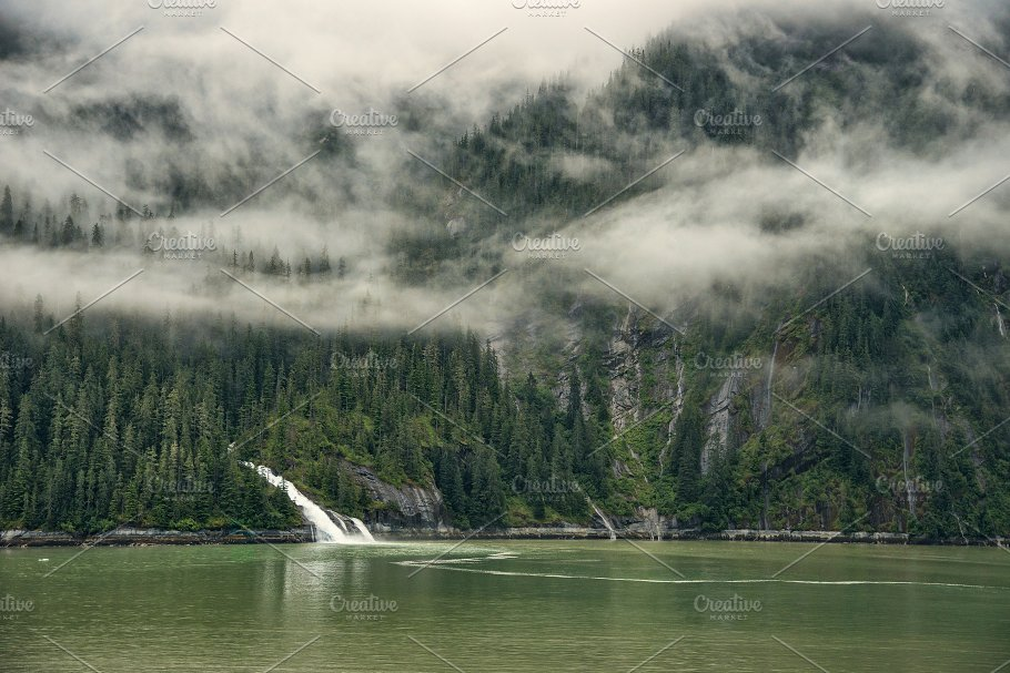 alaskan landscape with waterfall nature photos creative market