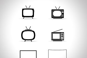 Television icon set vector