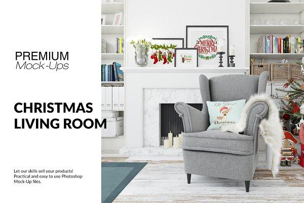 Christmas Living Room Set PSD Mockup | 3d Logo Mockup PSD Template