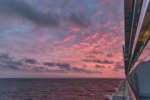 Ocean sunset, cruise ship