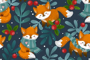 winter forest and cute foxes